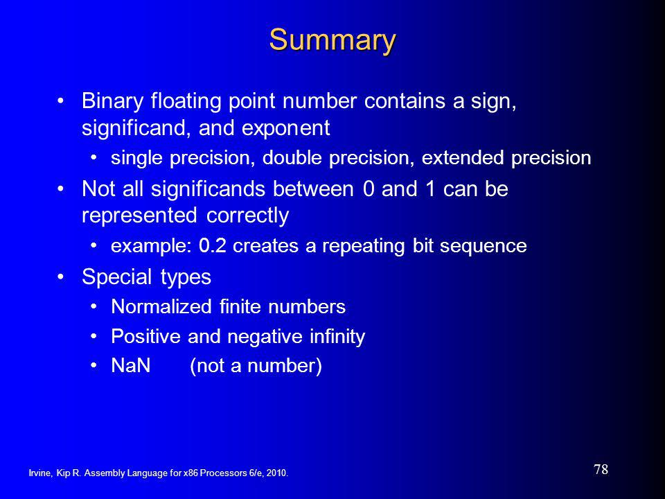 Summary Binary floating point number contains a sign, significand, and exponent. single precision, double precision, extended precision.