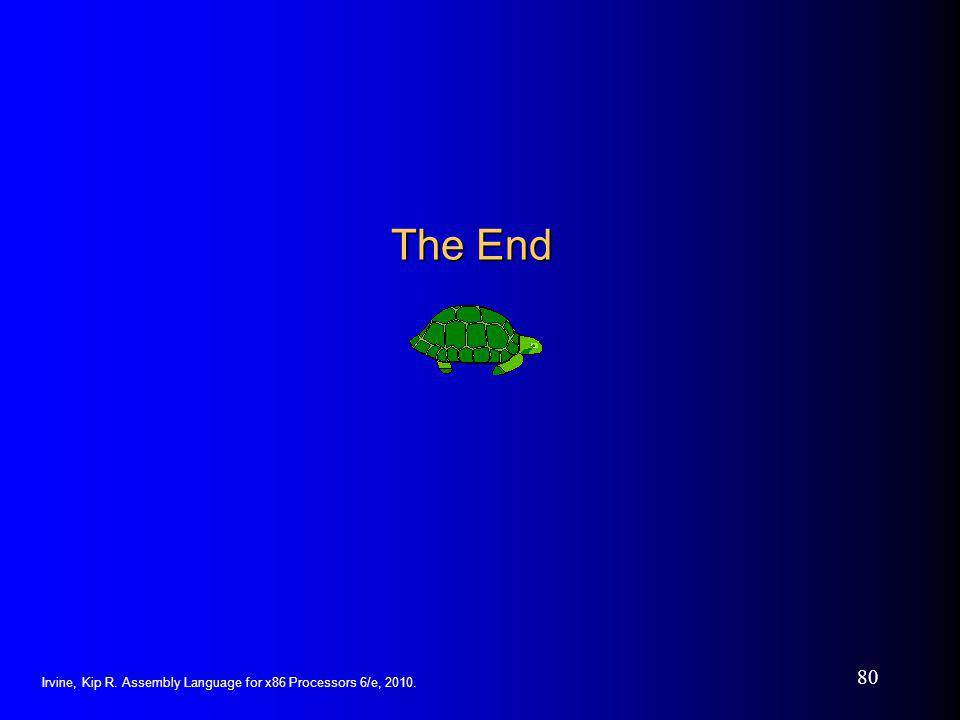The End Irvine, Kip R. Assembly Language for x86 Processors 6/e, 2010.