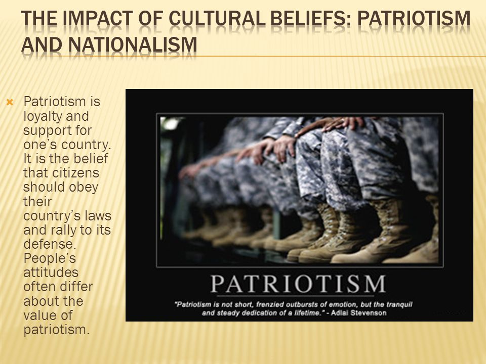 The Impact of Cultural Beliefs: Patriotism and Nationalism