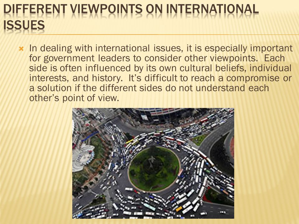 Different Viewpoints on International Issues