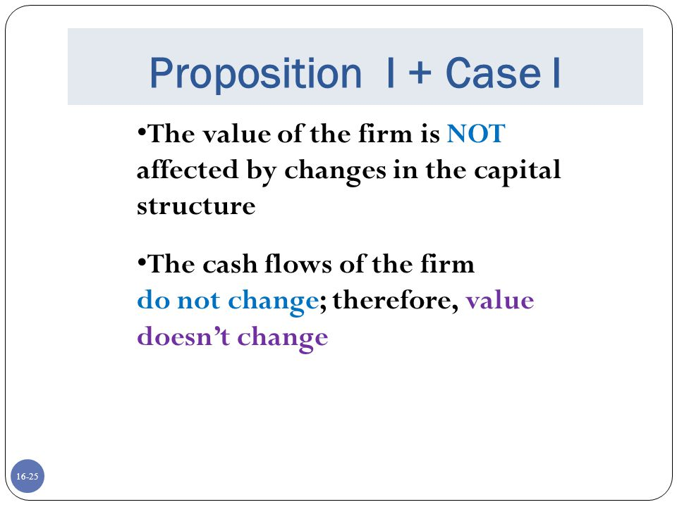 Proposition I + Case I The value of the firm is NOT affected by changes in the capital structure. The cash flows of the firm.