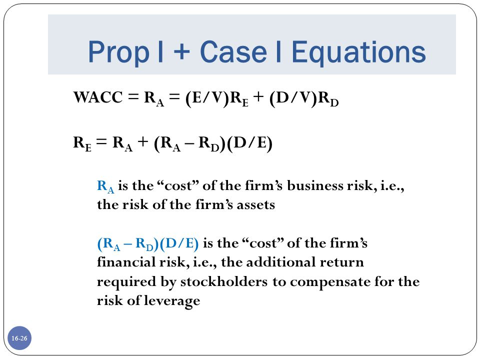 Prop I + Case I Equations