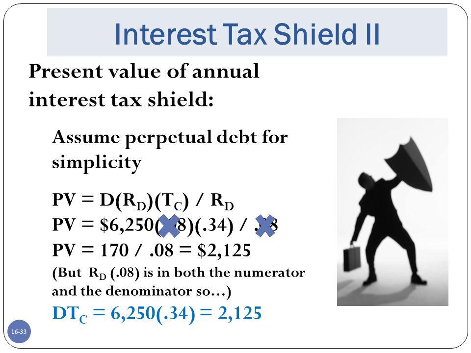 Interest Tax Shield II Present value of annual interest tax shield: