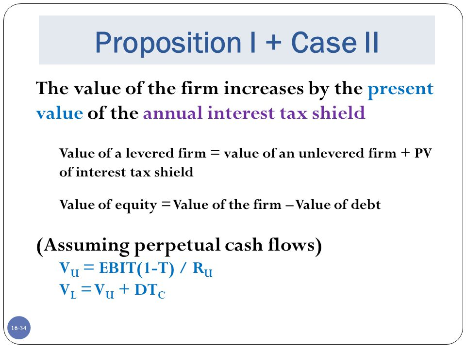 Proposition I + Case II The value of the firm increases by the present value of the annual interest tax shield.