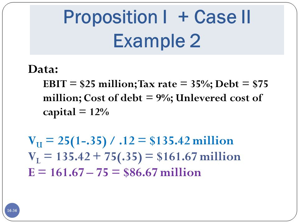 Proposition I + Case II Example 2