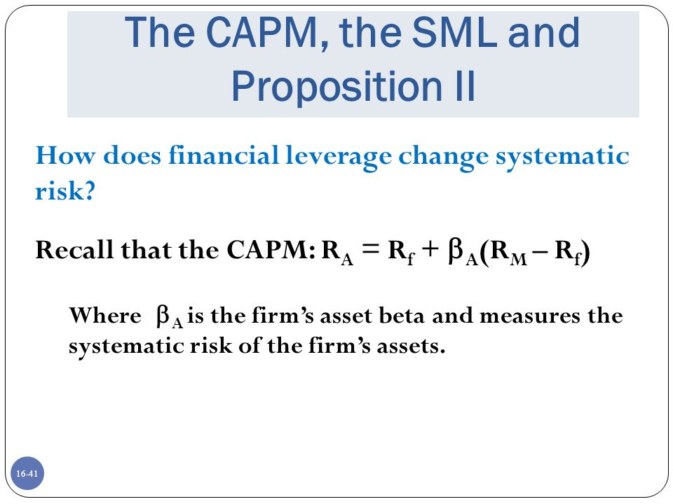 The CAPM, the SML and Proposition II