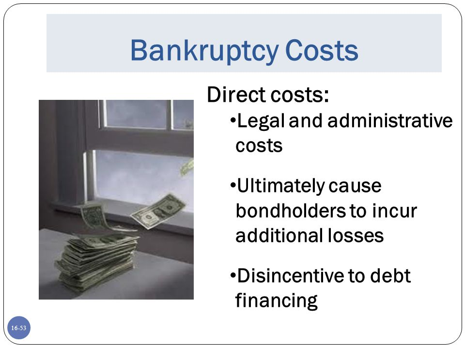 Bankruptcy Costs Direct costs: Legal and administrative costs