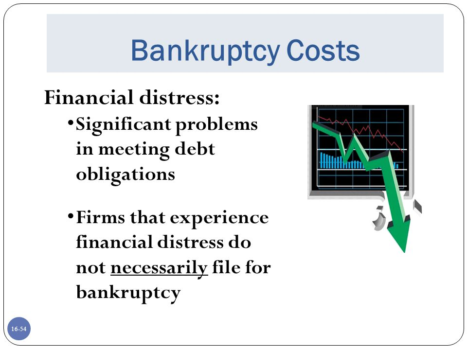 Bankruptcy Costs Financial distress: