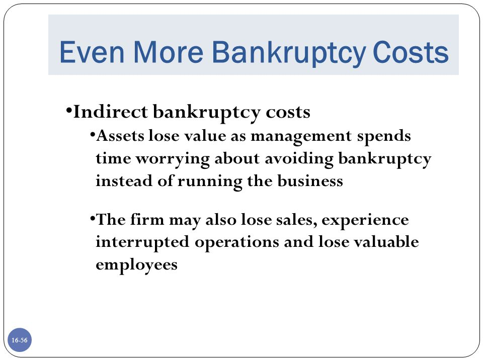 Even More Bankruptcy Costs