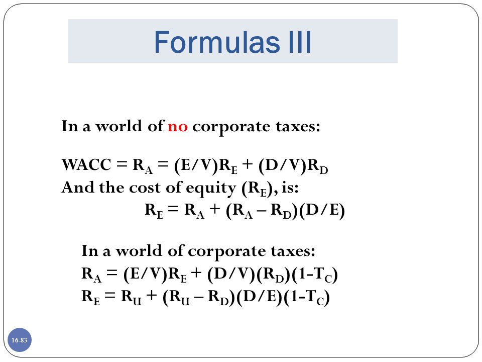 Formulas III In a world of no corporate taxes: