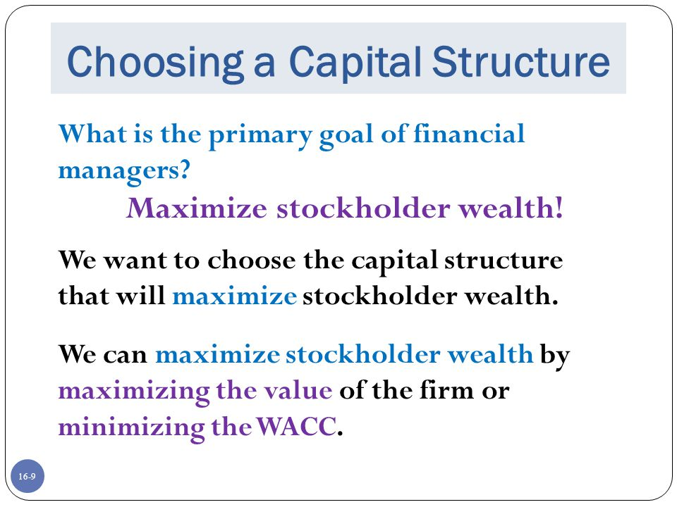 Choosing a Capital Structure