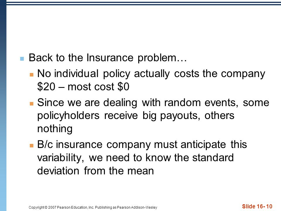 Back to the Insurance problem…