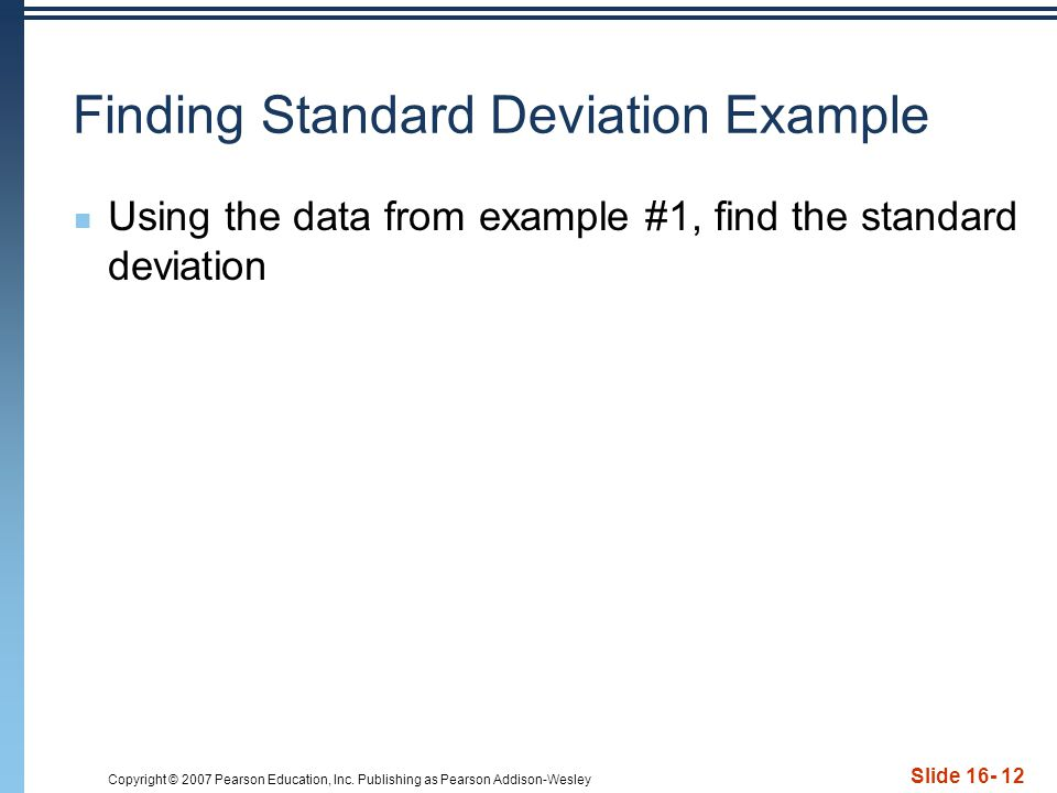 Finding Standard Deviation Example