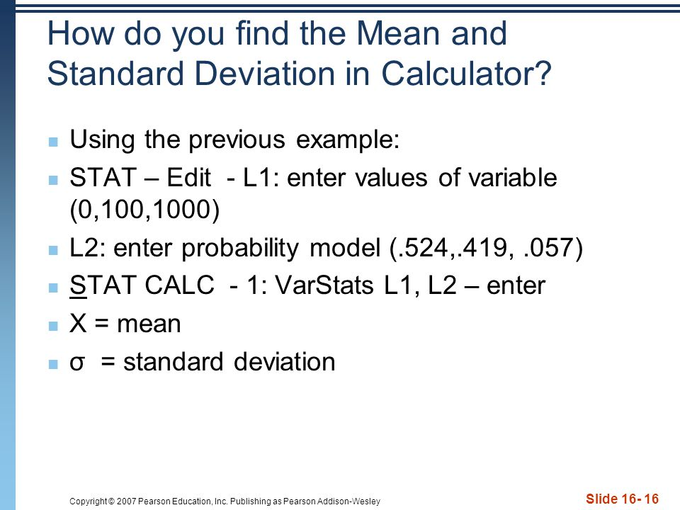 How do you find the Mean and Standard Deviation in Calculator