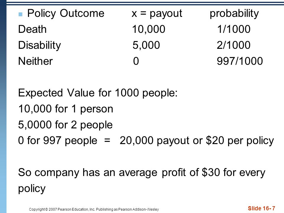 Policy Outcome x = payout probability