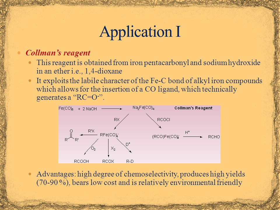 Application I Collman's reagent