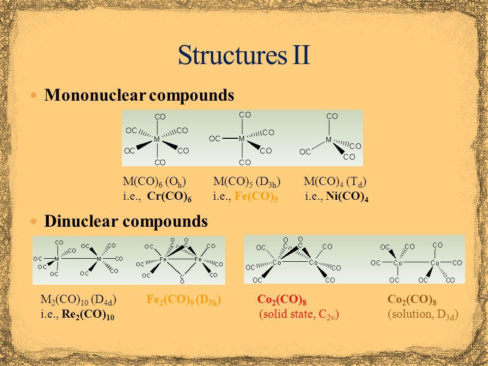 Structures II Mononuclear compounds Dinuclear compounds
