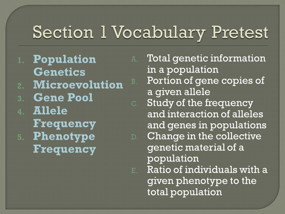 Section 1 Vocabulary Pretest