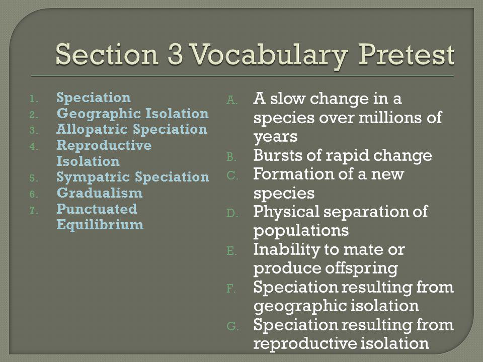 Section 3 Vocabulary Pretest