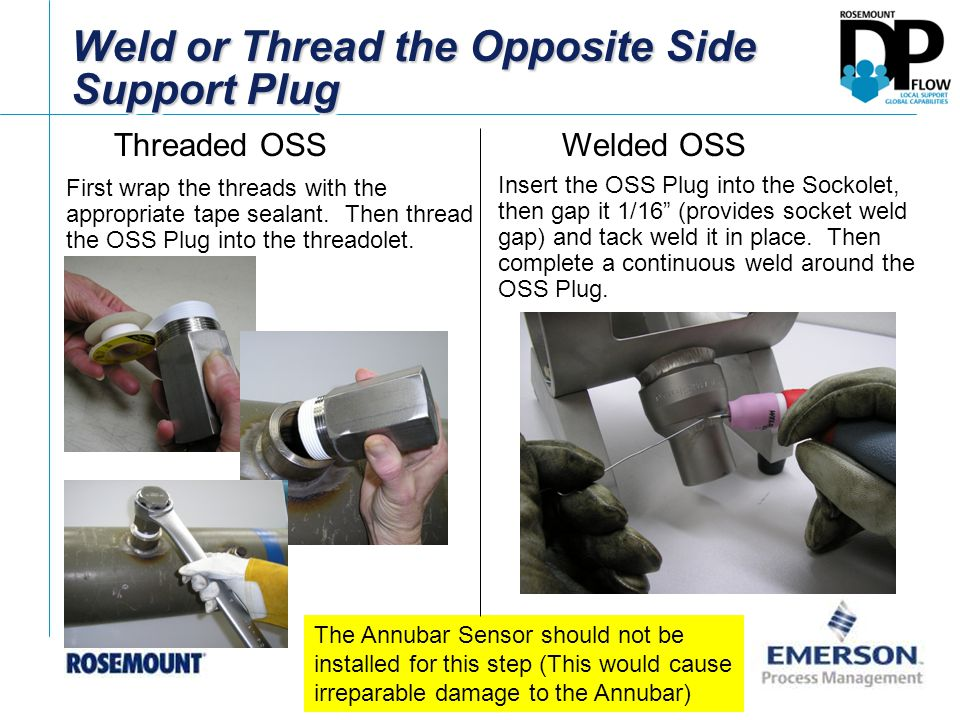 Weld or Thread the Opposite Side Support Plug