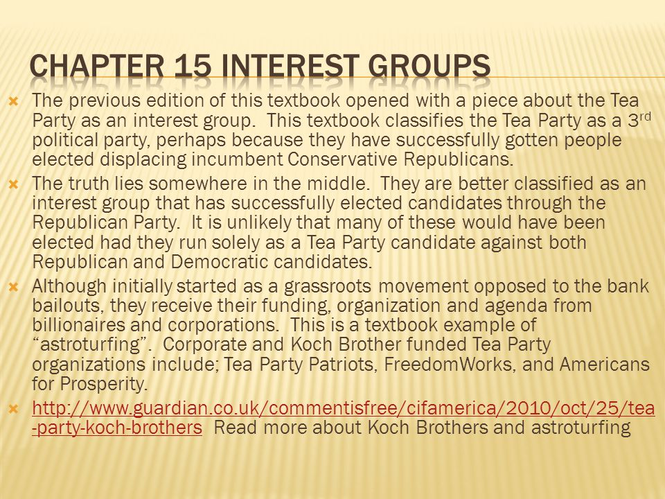 Chapter 15 interest groups