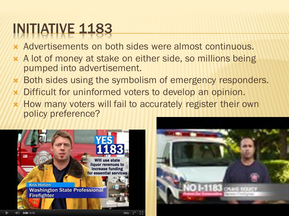 Initiative 1183 Advertisements on both sides were almost continuous.