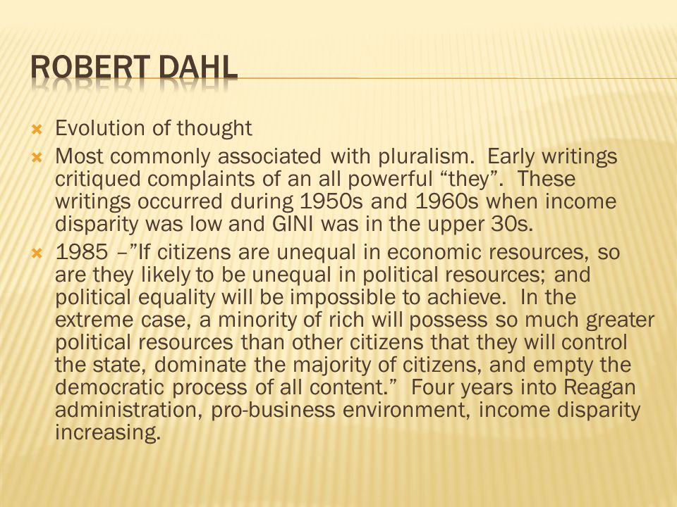 Robert Dahl Evolution of thought