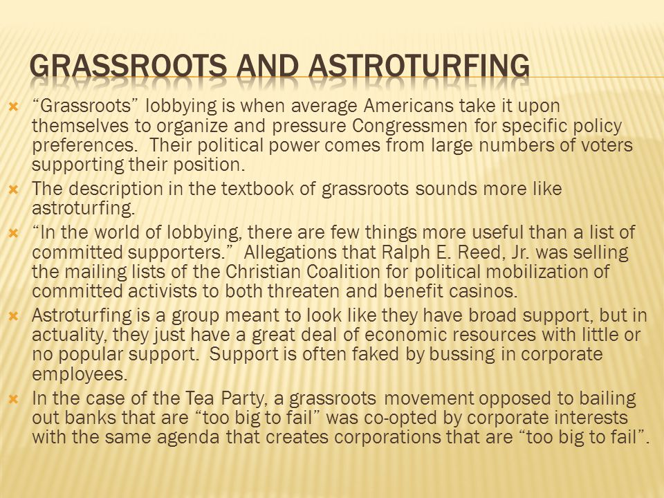 Grassroots and astroturfing