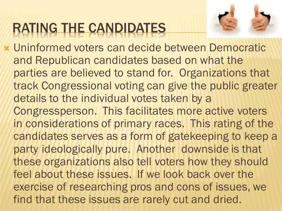 Rating the candidates