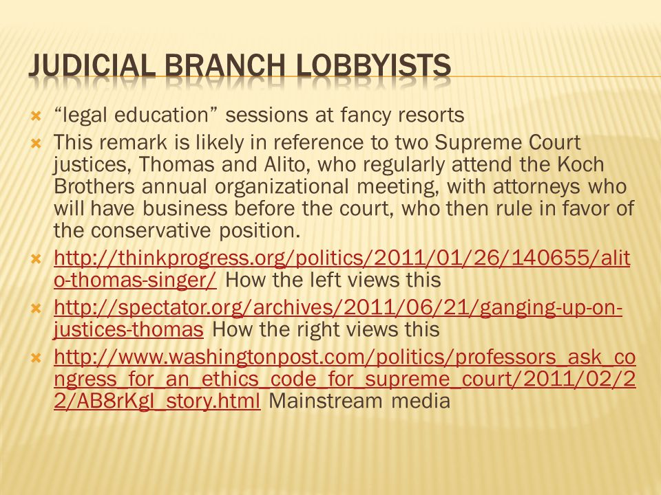 Judicial branch lobbyists