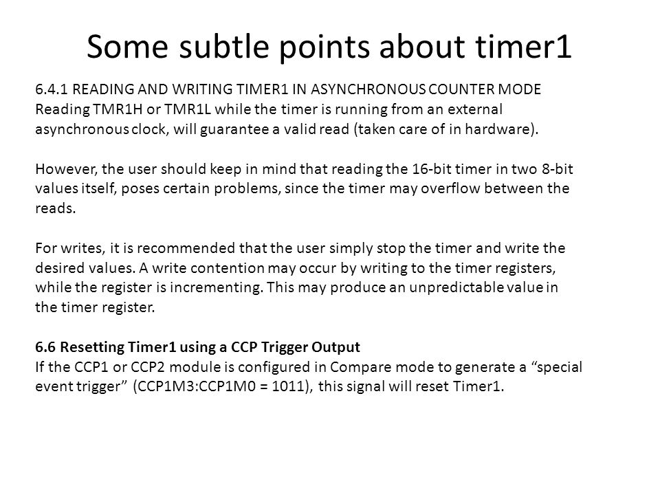 Some subtle points about timer1