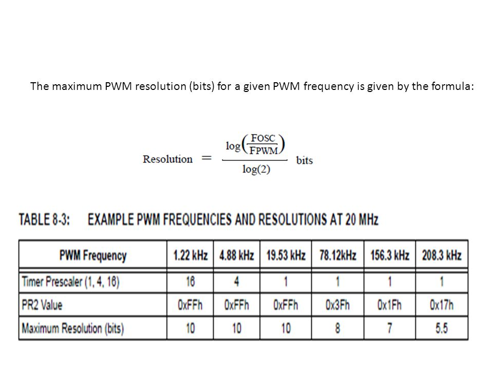 The maximum PWM resolution (bits) for a given PWM frequency is given by the formula: