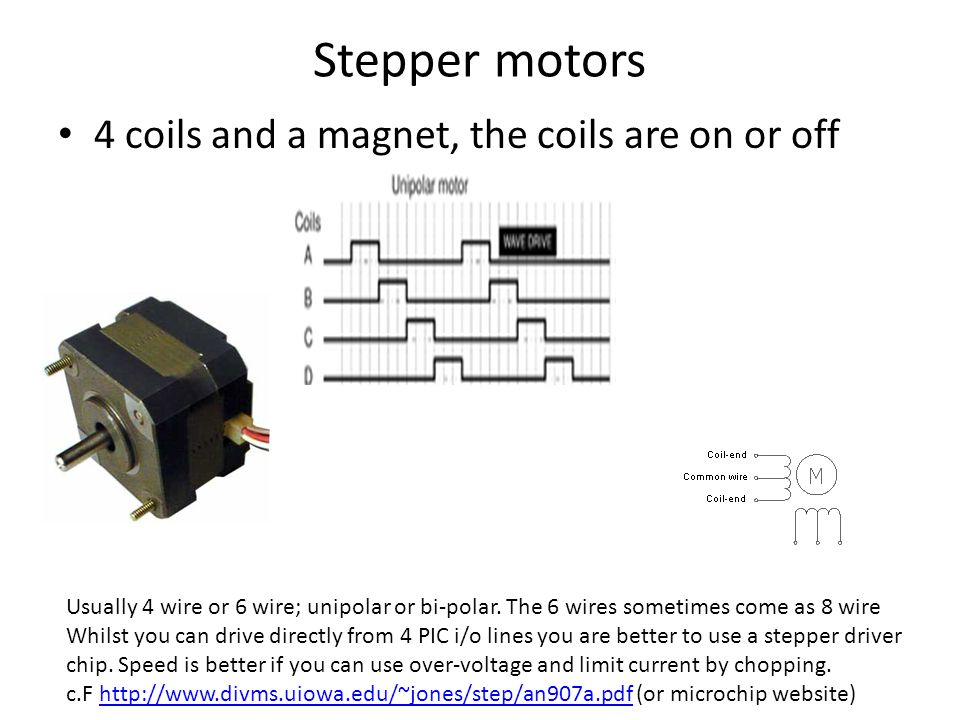 Stepper motors 4 coils and a magnet, the coils are on or off