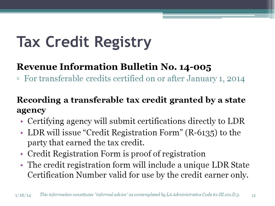 Tax Credit Registry Revenue Information Bulletin No. 14-005