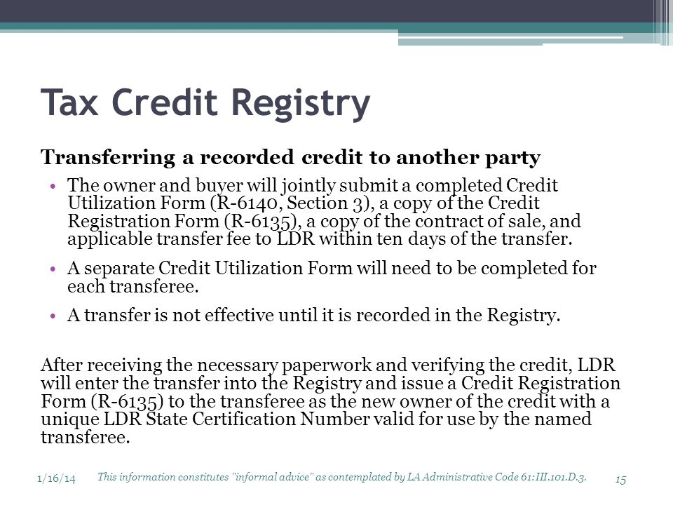 Tax Credit Registry Transferring a recorded credit to another party