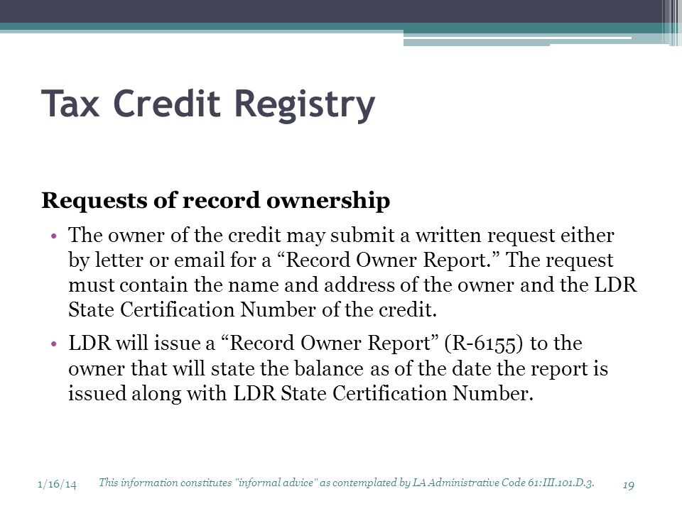 Tax Credit Registry Requests of record ownership
