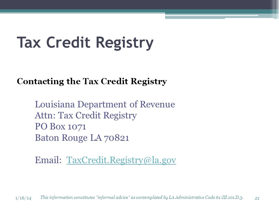 Tax Credit Registry Louisiana Department of Revenue