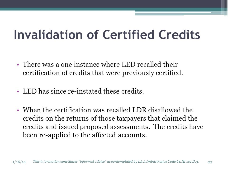 Invalidation of Certified Credits