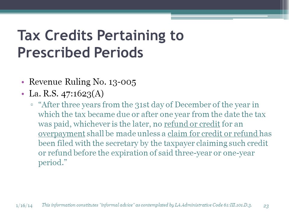 Tax Credits Pertaining to Prescribed Periods