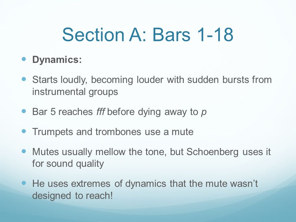 Section A: Bars 1-18 Dynamics: