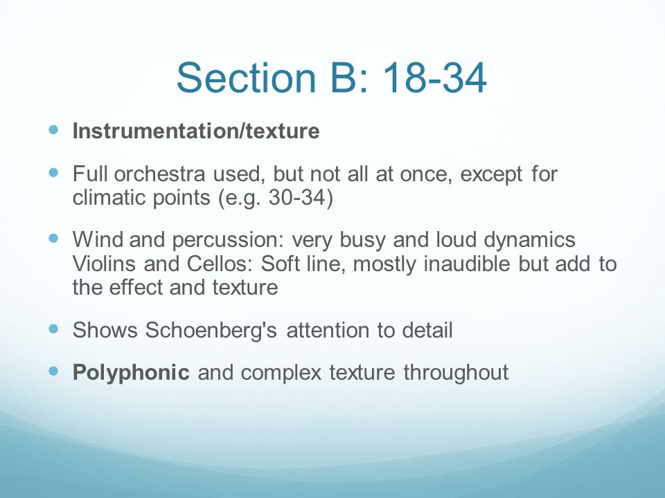 Section B: 18-34 Instrumentation/texture