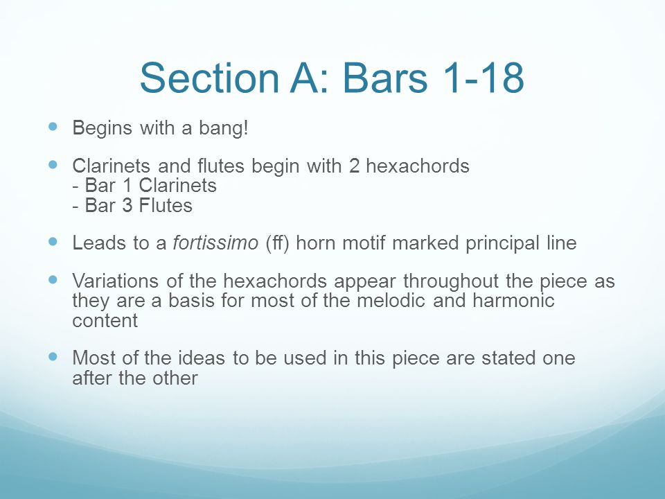 Section A: Bars 1-18 Begins with a bang!