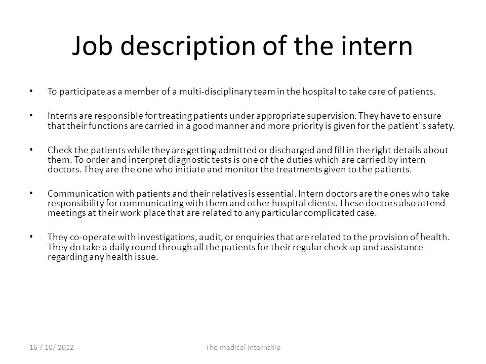 Job description of the intern