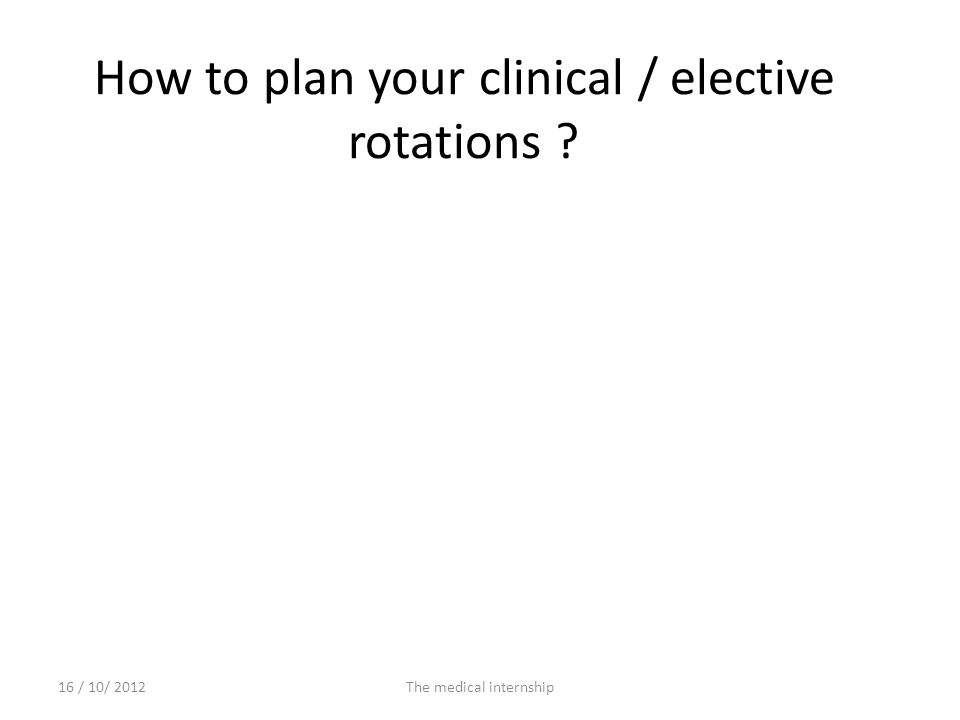 How to plan your clinical / elective rotations