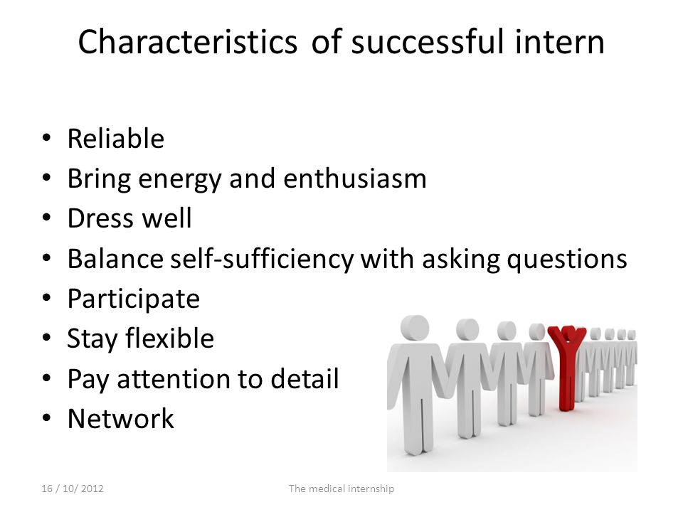 Characteristics of successful intern