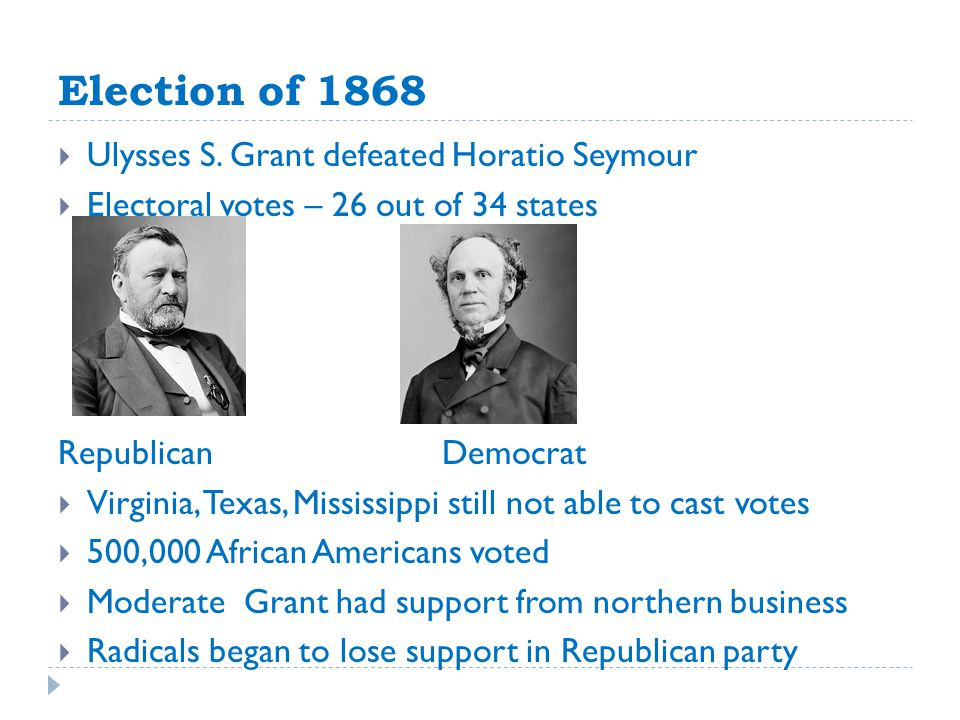 Election of 1868 Ulysses S. Grant defeated Horatio Seymour