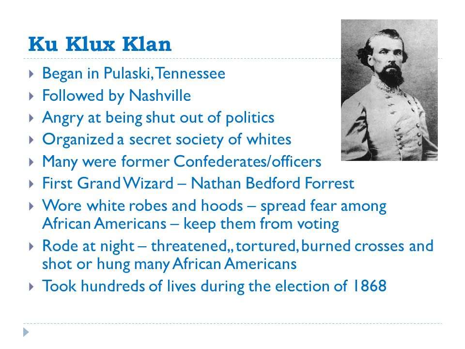 Ku Klux Klan Began in Pulaski, Tennessee Followed by Nashville