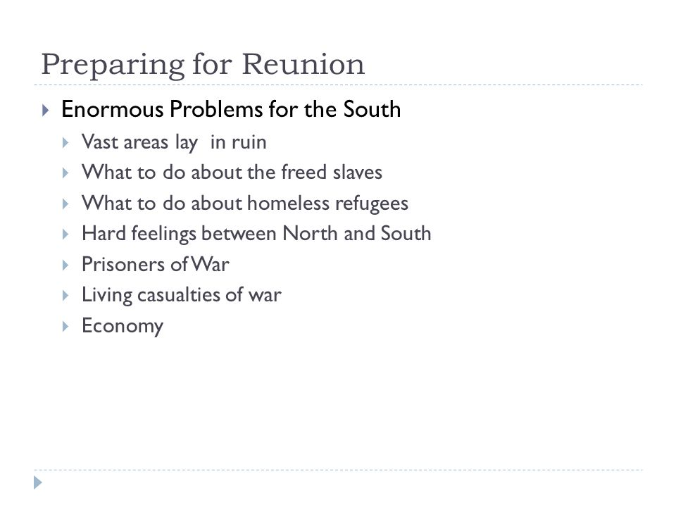 Preparing for Reunion Enormous Problems for the South