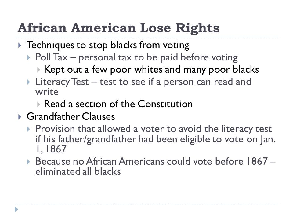 African American Lose Rights