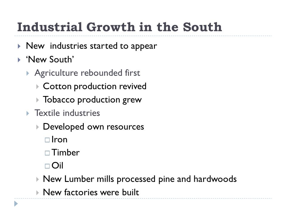 Industrial Growth in the South
